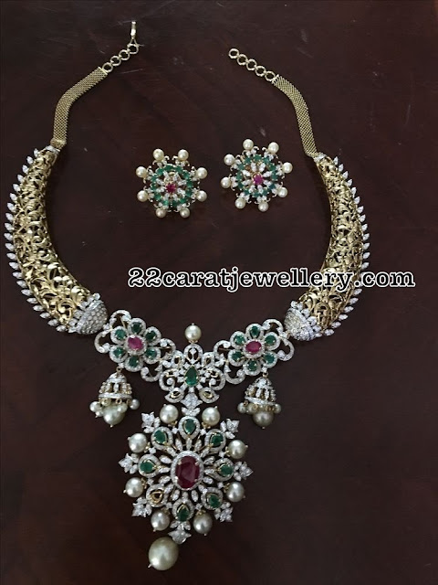 Antique Diamond Choker with Emerald Studs
