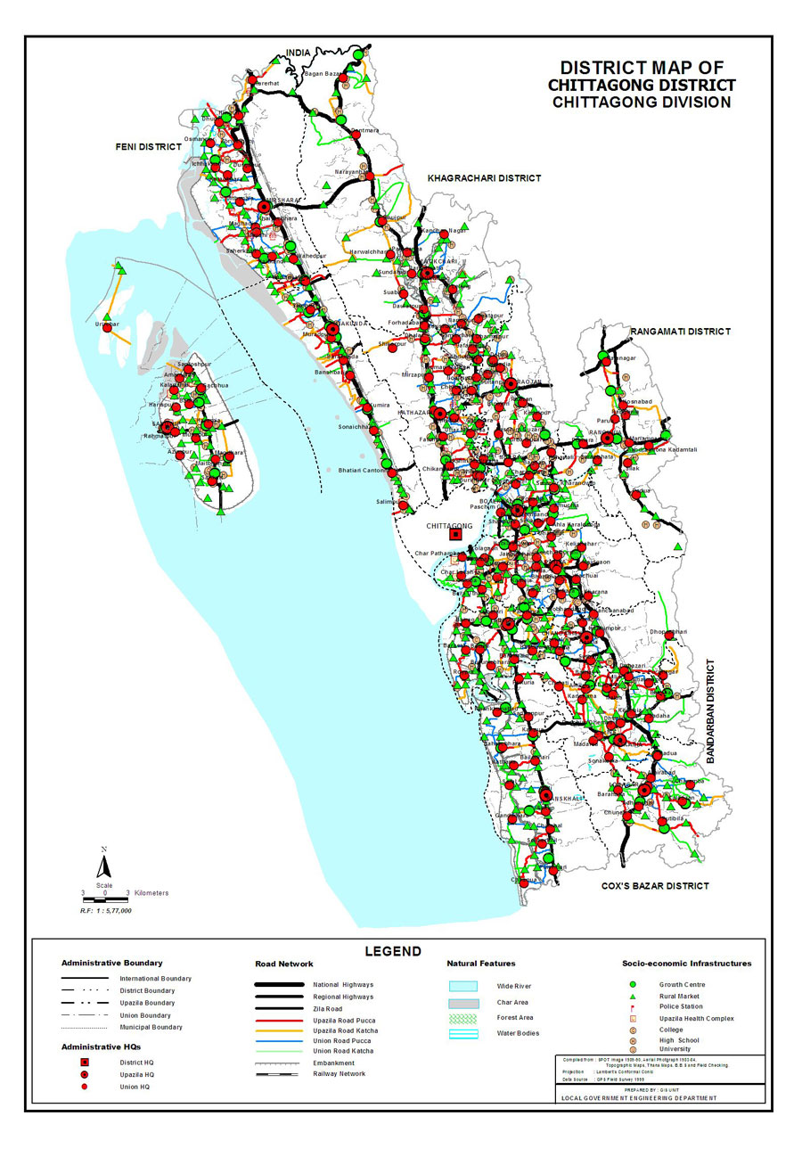 Chittagong District Map Bangladesh