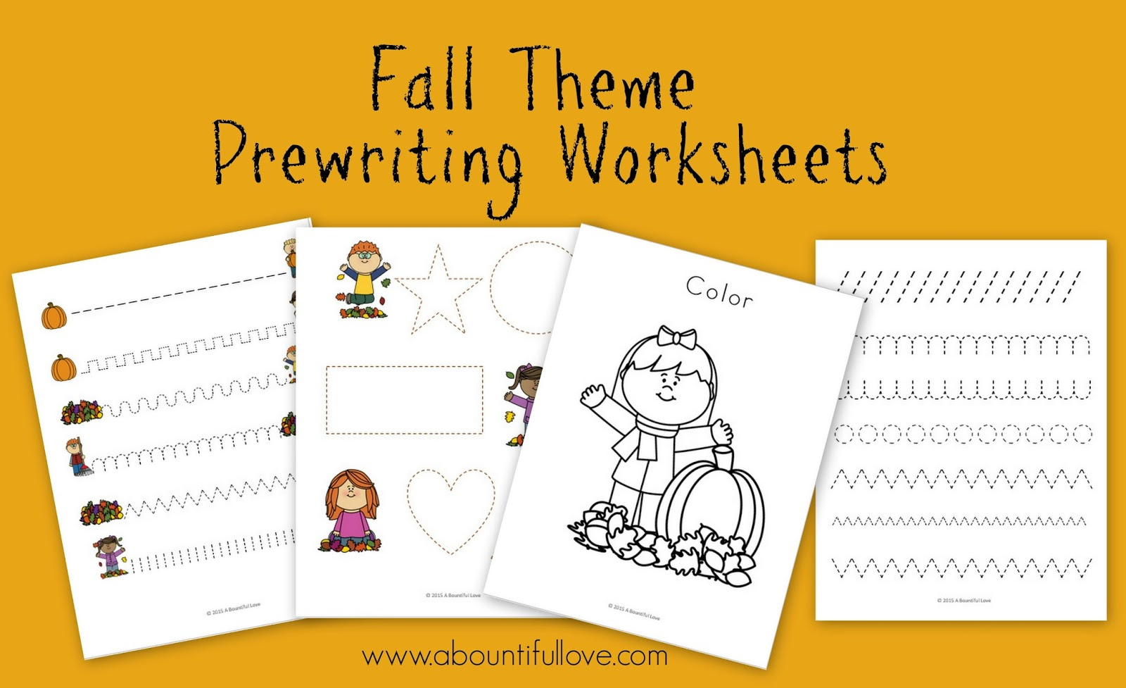 Fall Theme Pre Writing Sheets Free Printable