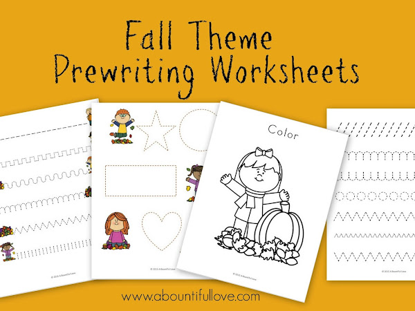 Fall theme Pre Writing Sheets ( Free Printable)