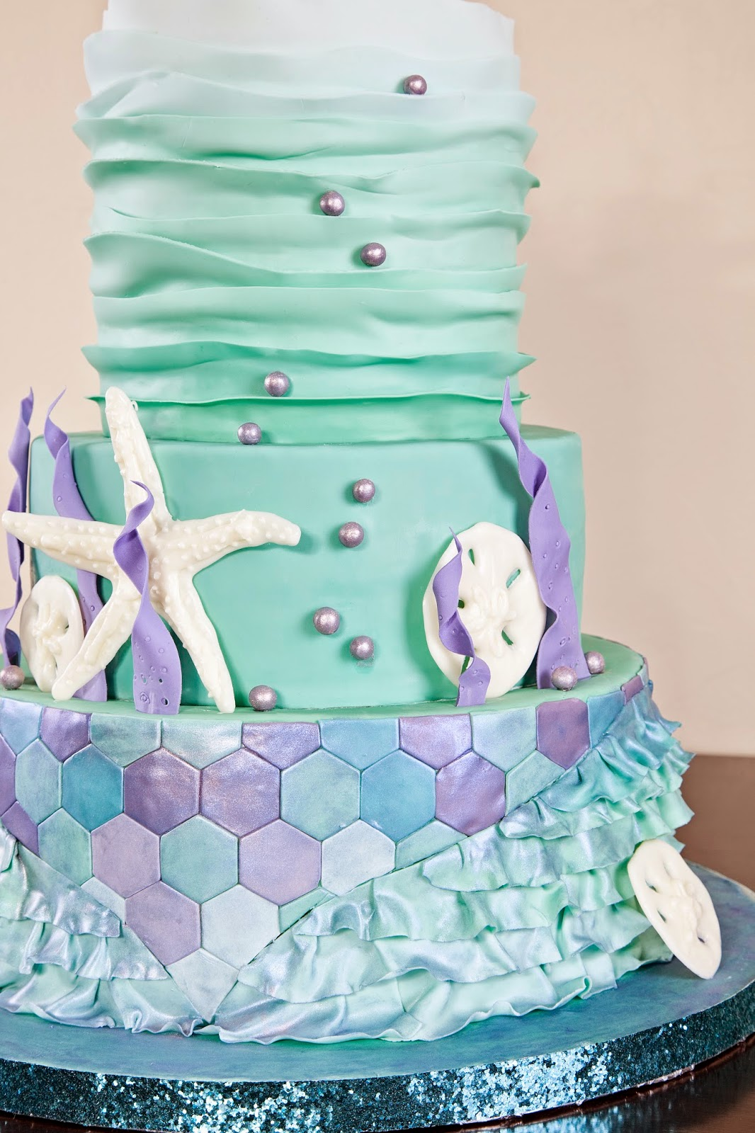Delectable Cakes Pearly Purple And Teal Mermaid Cake