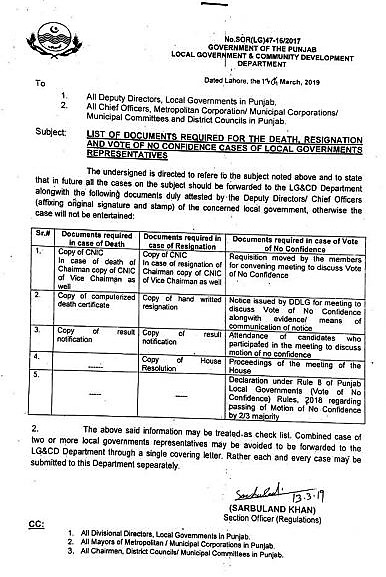 DOCUMENTS REQUIRED FOR THE DEATH RESIGNATION AND VOTE OF NO CONFIDENCE CASES OF LOCAL GOVERNMENT REPRESENTATIVES