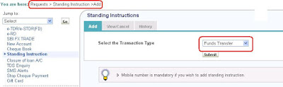 Setting Standing Instructions for OnlineSBI PPF