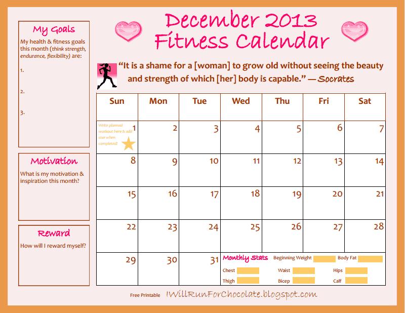 December Fitness Calendar Printable