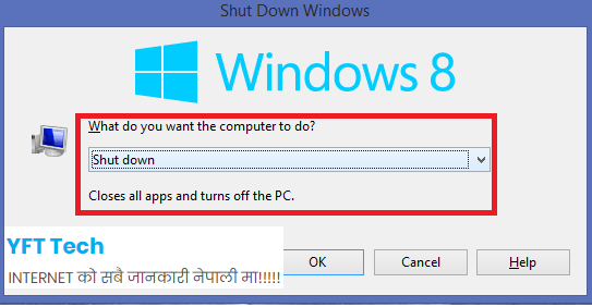 Computer shut down in Nepali