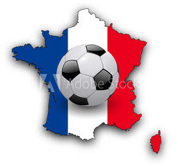 Pic of black and white football on map of France in French colours