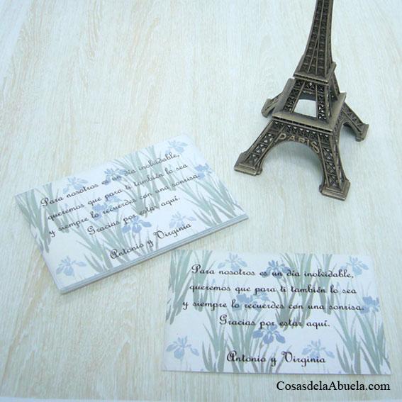 Tarjetas de agradecimiento lirios azules