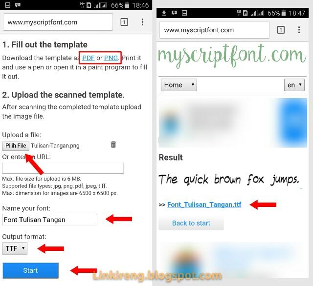 Upload template MyScriptFont
