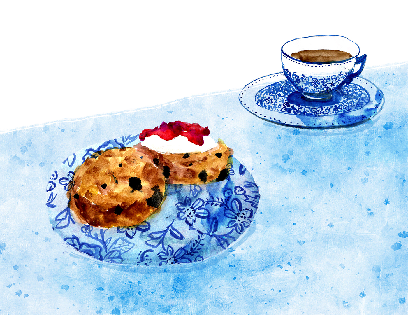 Oatmeal Scones, Minty's Table, Lauren Monaco Illustration, Raisin, Currant, Apricot Rosemary scone