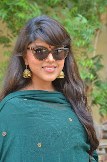 Actress Pooja Devariya Pictures in Green Salwar Kameez at Mo Movie Teaser Launch  0003.jpg