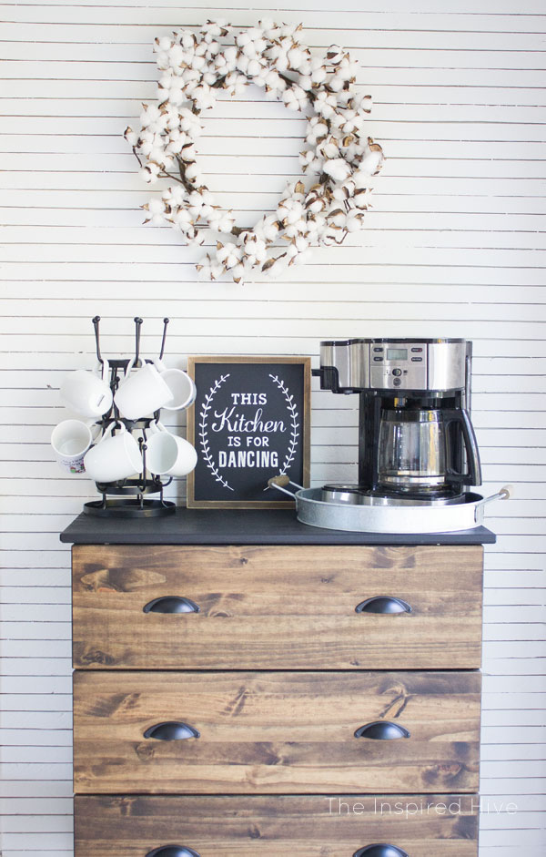 DIY skinnylap wall and farmhouse style coffee bar.