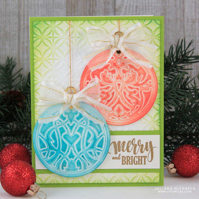 Christmas Ornaments Card | Embossing with Spellbinders Dies