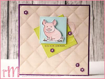 Stampin' Up! rosa Mädchen Kulmbach: Dankeskarte mit Glücksschweinchen und Stickrahmen