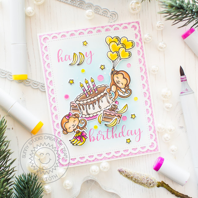 Sunny Studio Stamps: Make A Wish Love Monkey Frilly Frames Birthday Card by Mona Toth
