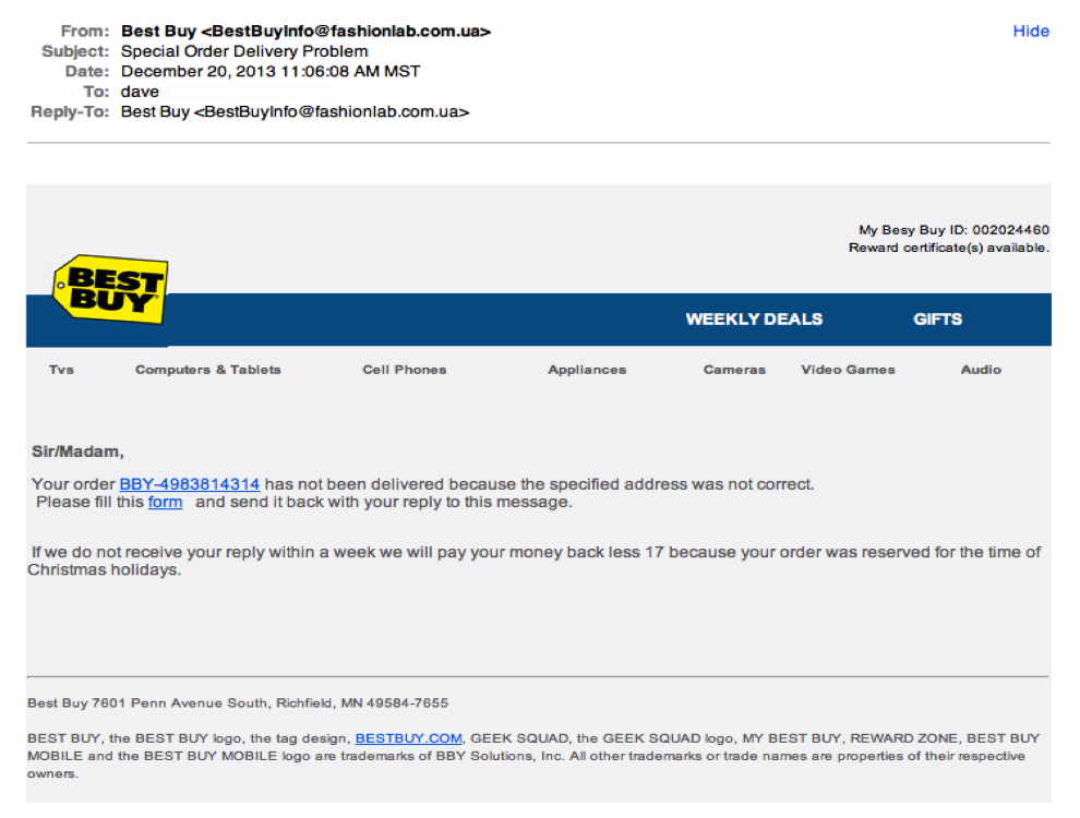 Best Buy phishing example