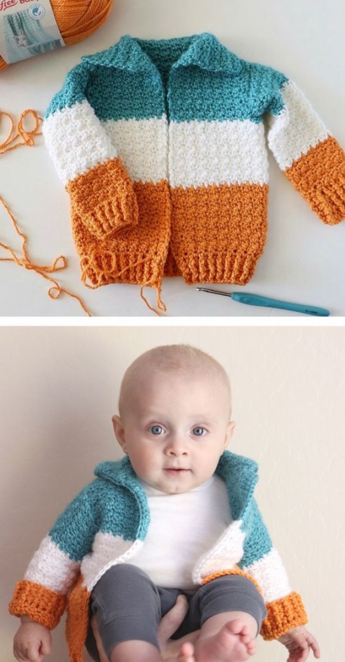 Baby Three Color Crochet Cardigan - Free Pattern