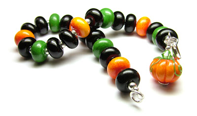 Lampwork Glass Halloween Bracelet