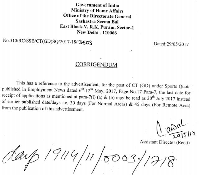 Corrigendum Notice for SSB Recruitment
