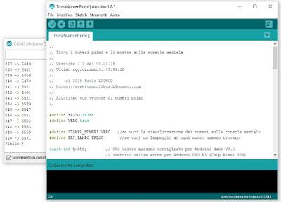 Fig. 2 - Risultato della ricerca dei primi 850 numeri primi con Arduino UNO R3 - Foto di Paolo Luongo