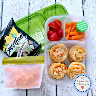 My Epicurean Adventures: Lunch Box Fun 2015-16: Weeks #23-28. Lunch box ideas, school lunch ideas, lunches, mini pizzas