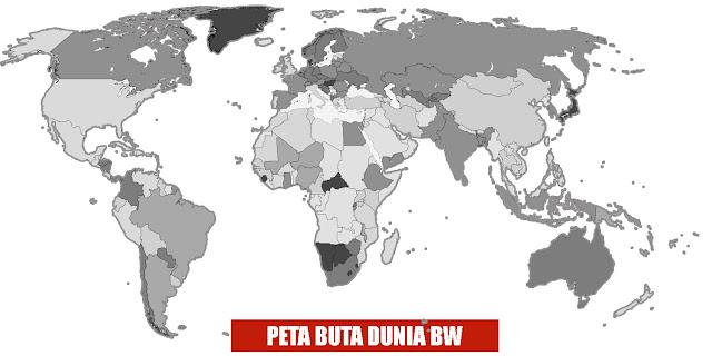Gambar Peta Buta Dunia Hitam Putih