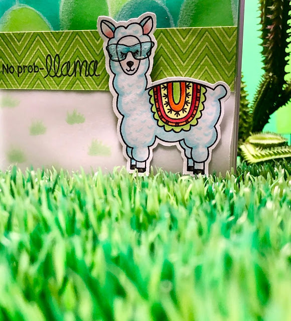No Prob-llama Card by March Guest Designer Jane Clark | Loveable Llamas Stamp Set by Newton's Nook Designs #newtonsnook #handmade