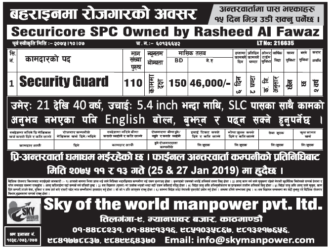 Jobs in Bahrain for Nepali, Salary Rs 46,000