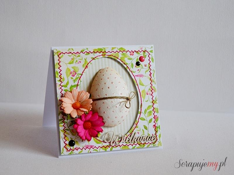 kartka wielkanocna z jajkiem, kartka z pisanką