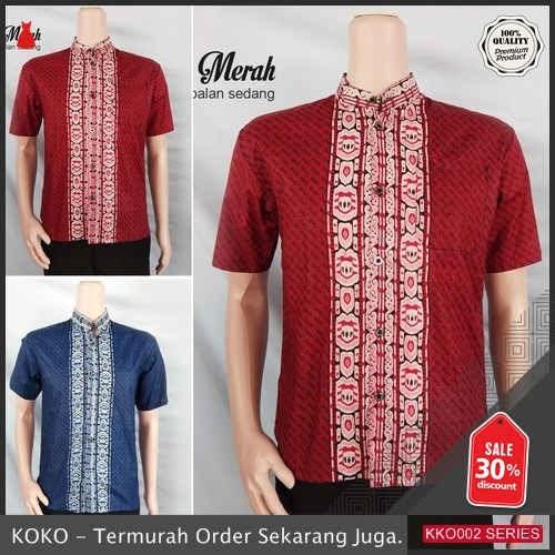 KKO02 TRL115 Koko Batik Lengan Pendek Kombinasi Kemeja Hem BMGShop