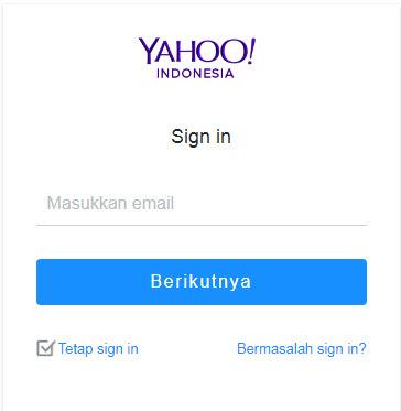 halaman login ke email yahoo (ymail)