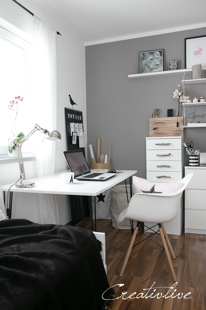 arbeitszimmer make over und neuer tisch mit hairpin beinen creativlive. Black Bedroom Furniture Sets. Home Design Ideas