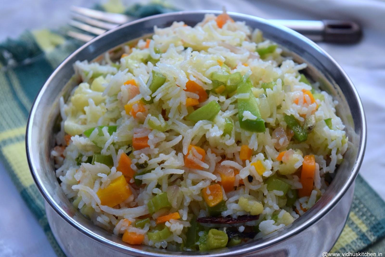 Vidhu's kitchen: Easy & Quick Vegetable pulao