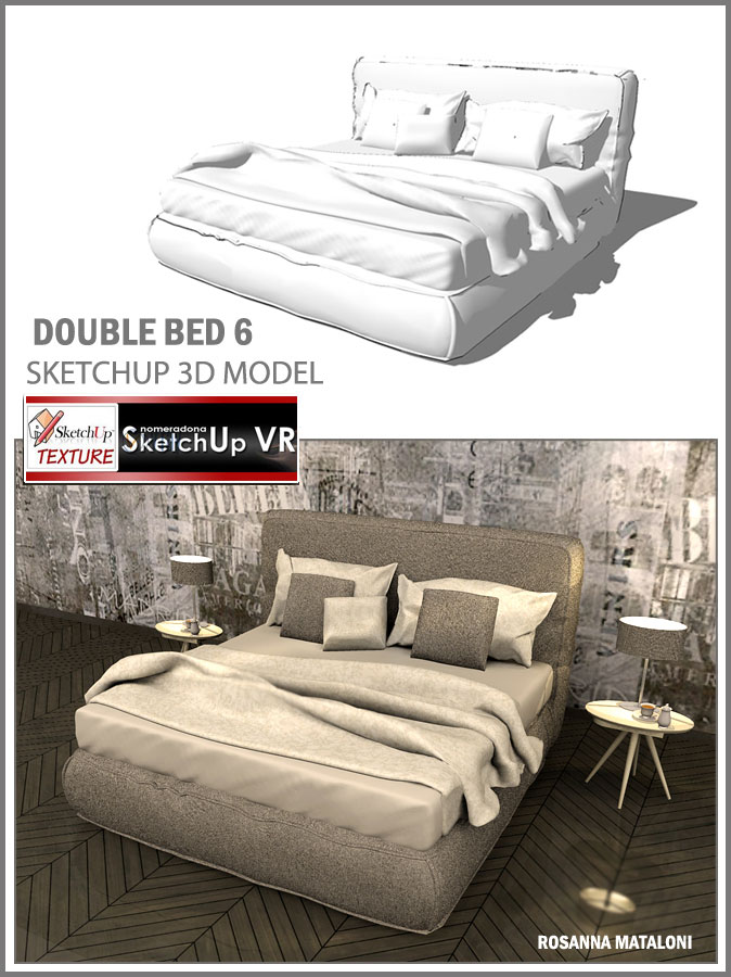 SKETCHUP TEXTURE: SKETCHUP 3D MODEL DOUBLE BED #6