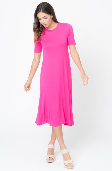 Fuchsia swing midi dresses