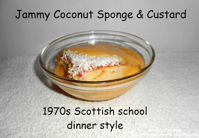 Scottish Jammy Coconut Sponge: sliced and served with yummy warm custard.