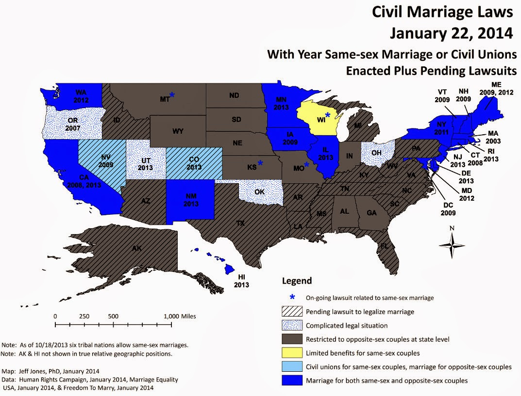 Map of states that allow gay marriage