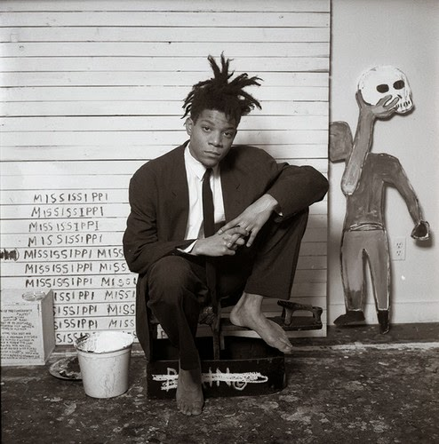 jean michel basquiat black and white photo