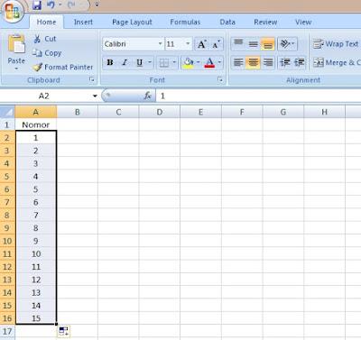 Cara membuat nomor urut vertikal di excel secara otomatis