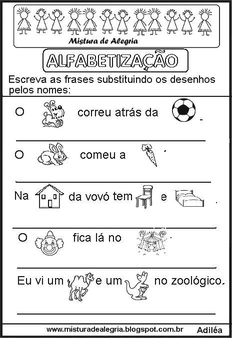 Atividades Com Frases Para Alfabetização