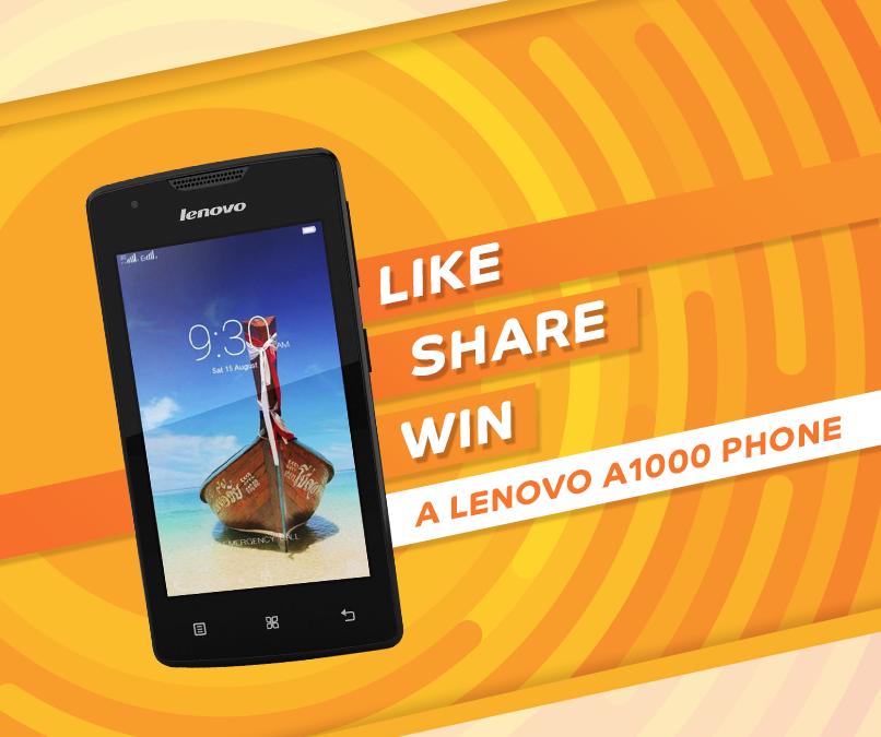 LIKE, SHARE and WIN Lenovo A1000 mobile phones | Free Stuff