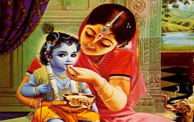 Baby Krishna with Maa Yoshoda wallpaper