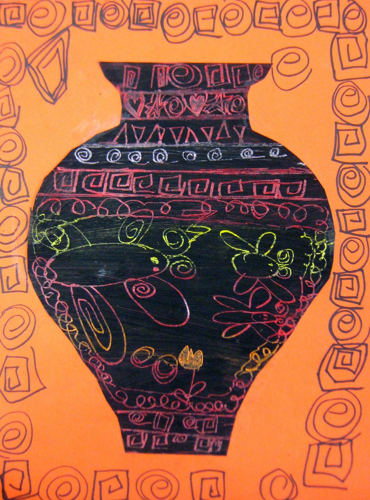 Experiments In Art Education Greek Vases Scratch Art