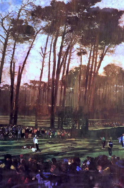 Bernie Fuchs illustration of a golf tournament