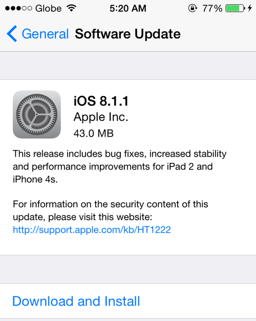 iOS 8.1.1 is now available via software update