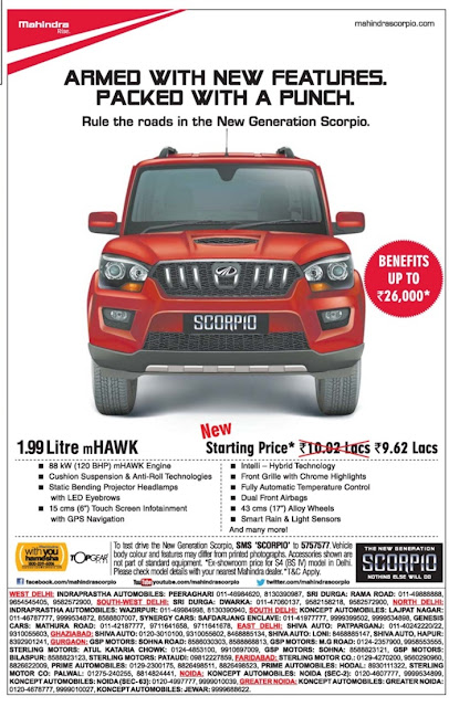 Pay just Rs 101 down payment and drive home a brand new Mahindra SUV | December 2016  Festival discount offer deals |Scorpio