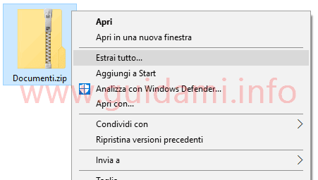 Windows 10 decomprimere archivio file