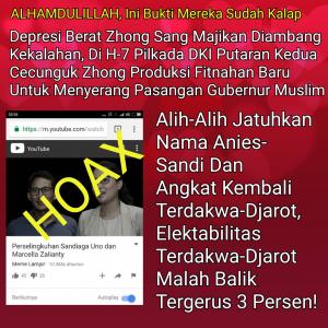 Tebar Fitnah Serang Sandiaga Di H-7 Pilkada DKI, Elektabilitas Terdakwa-Djarot Malah Tergerus Tiga Persen!