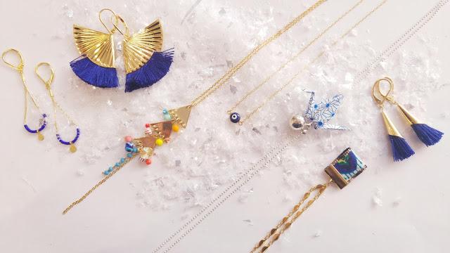 collier, boucles d'oreilles, sautoir, origami Hazarandco etsy
