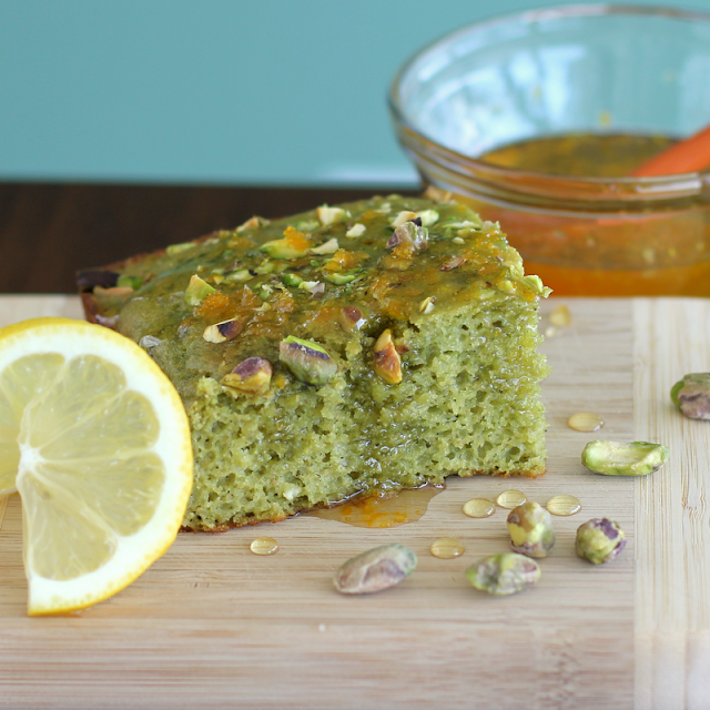 Healthy Pistachio Snacking Cake (with hidden veggies!) and a Citrus Glaze