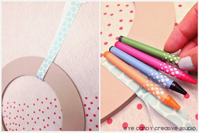 hanging ribbon, wreath making, how to make, glue on crayons, Target